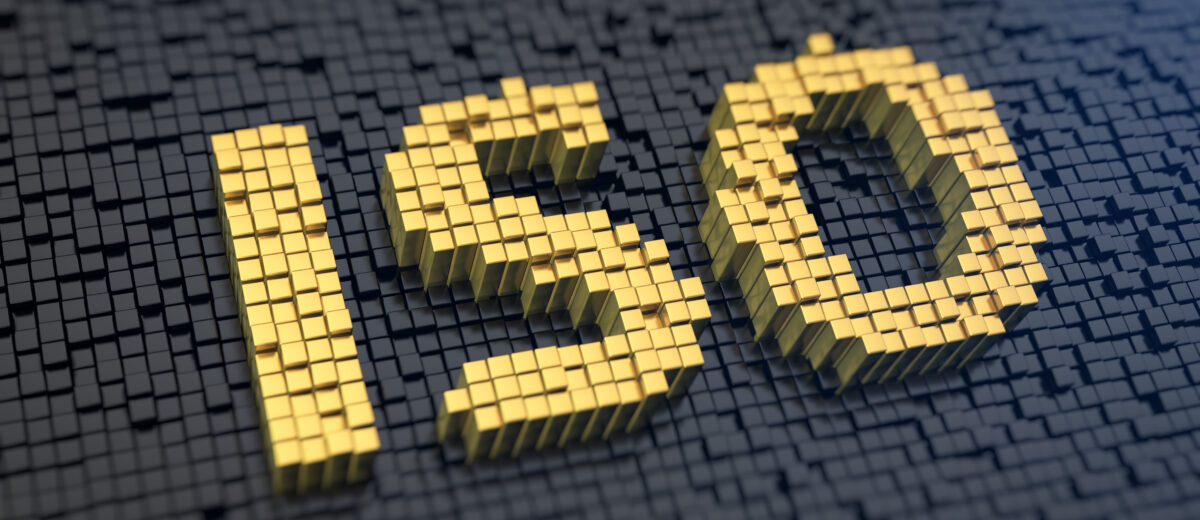 Acronym 'ISO' of the yellow square pixels on a black matrix background. Industry standards or light sensitivity concept.