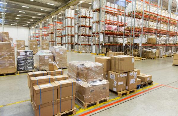 cargo boxes storing at warehouse shelves