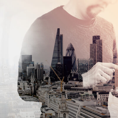 Double Exposure of Designer hand using mobile payments online sh