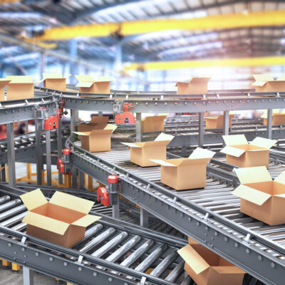 Conveyors with cardboard boxes on white background. 3d illustrat