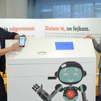 A1 in Croatia held a press conference and presented smart waste bins. Photo: Dragan Petric, HUB, www.hub.hr